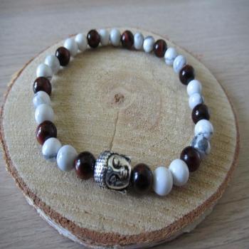 Bracelet howlite oeil du tigre rouge