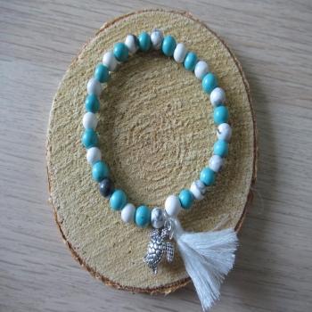 Bracelet en pierre de Howlite blanche et turquoise pompon et tortue