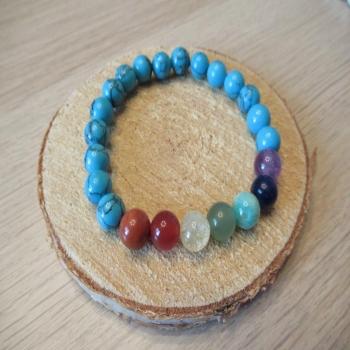 Bracelet en howlite turquoise 7 chakras