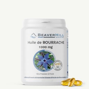 BOURRACHE - 90 capsules de 1000 mg chacune - Peau Sèche, Syndrome pré-menstruel, Articulations