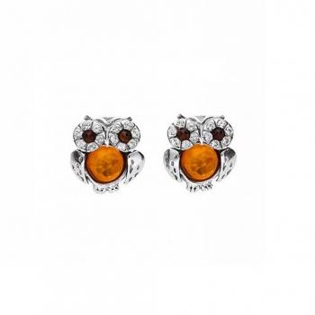Boucles d'oreilles hibou en ambre sur argent 925