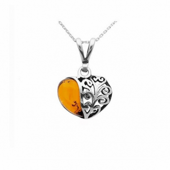 Collier coeur en ambre sur argent925.