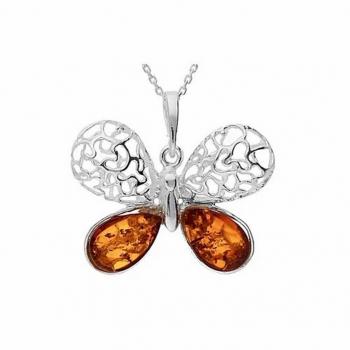 Collier papillon en ambre sur argent 925.