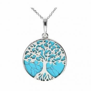 Collier arbre de vie turquoise sur argent 925.