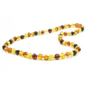 Collier en ambre véritable de la Baltique multicolore 45 cm