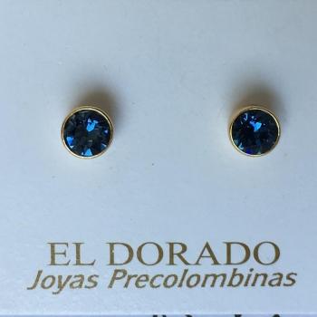 Boucles d'oreilles Puces Bleu
