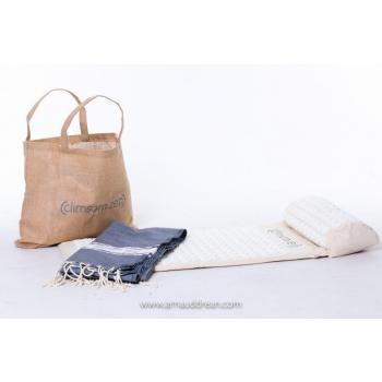 tapis et coussin d'acupression + sac en toile de jute + fouta