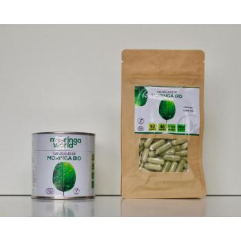 la boite de Moringa et sa recharge, objectif zero plastique, 240 gélules en tout