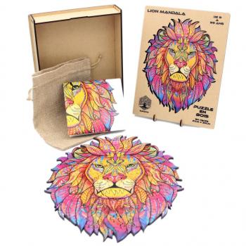 Puzzle en Bois Pour Adultes et Enfants, Puzzles en pièces d'animaux de forme unique, casse-tête en bois - LION