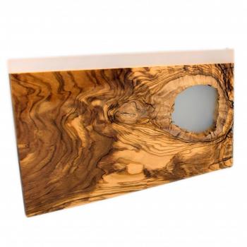 Planche à découper en bois d' olivier et résine époxy, plateau de présentation, planche apero