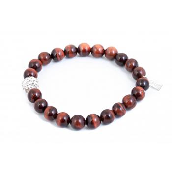 Bracelet oeil de tigre rouge et perle strass