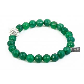 Bracelet perles agate verte facetté et strass