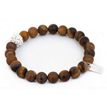 Bracelet oeil de tigre miel et perle strass