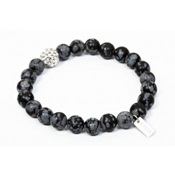 Bracelet perles obsidienne flocon de neige et strass