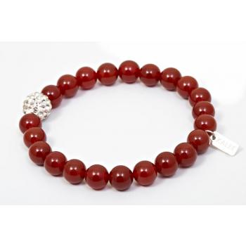 Bracelet perles jaspe rouge et strass