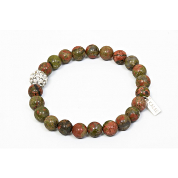 Bracelet perles unakite et strass