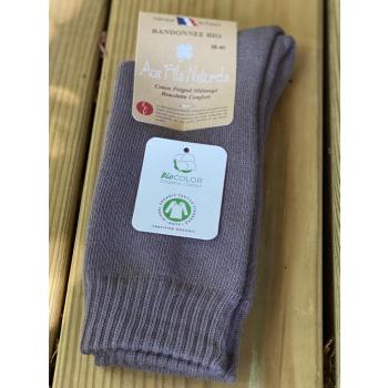 Lot de 2 paires de chaussettes coton bio taupe