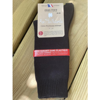 Lot de 2 paires de chaussettes fil d'écosse sans élastique (noires)