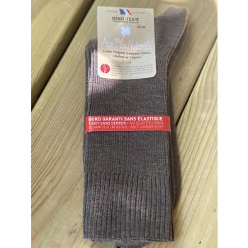 Lot de 2 paires de chaussettes laine sans élastique (brun)