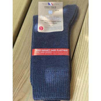 Lot de 2 paires de chaussettes laine sans élastique (bleu)