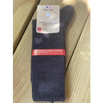Lot de 2 paires de chaussettes laine sans élastique (gris)