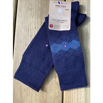 Lot de 2 paires chaussettes laine peignée mélangée (bleu)