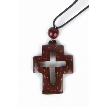 Pendentif croix cordon cuir