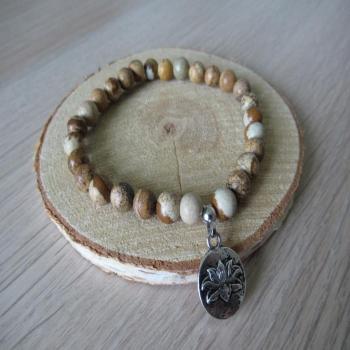 Bracelet en jaspe paysage et lotus