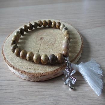 Bracelet jaspe paysage trèfle et pompon