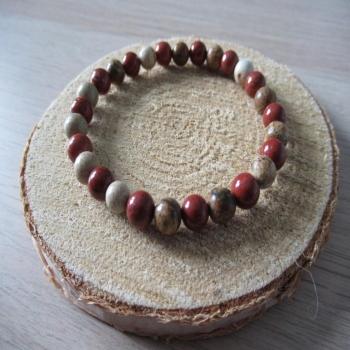 Bracelet en Jaspe rouge et paysage