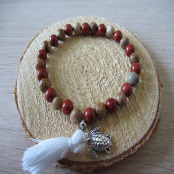 Bracelet en jaspe rouge et paysage + tortue et pompon