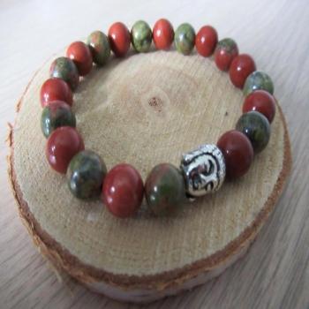 Bracelet unakite et jaspe rouge