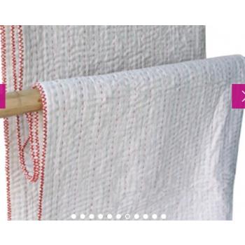 couverture rouge multicolore bébé coton brut à surpiqûres faites à la main équitable