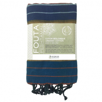 Fouta coton bio, Aquamarine Collection EBENE