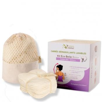 Kit 20 carrés démaquillants lavables écru en coton bio biface dans leur boîte - Kit eco belle bois