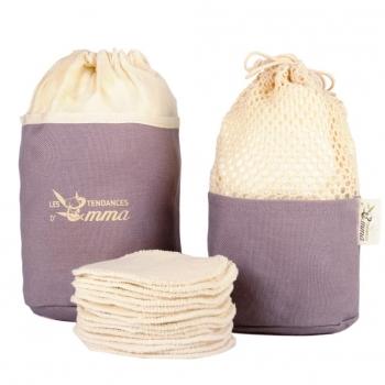 Kit 20 carrés démaquillants lavables écru en coton bio biface dans leur trousse - Kit eco belle trousse - Les Tendances d'Emma