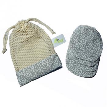 Disques démaquillants lavables - Kit de 4 + son filet - Collection Coton bio - Gris à fleur