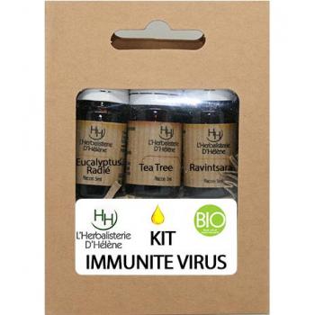 Kit Huiles Essentielles Immunité virus, 3 flacons 5ml, L'Herbalisterie D'Hélène