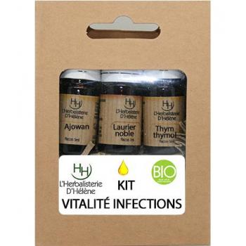 Kit Huiles Essentielles Vitalité Infections, 3 flacons 5ml, L'Herbalisterie D'Hélène