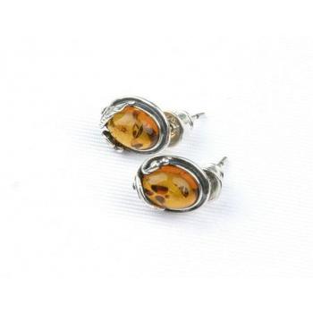 Boucles d'oreilles  en ambre cognac  de la Baltique sur argent 925