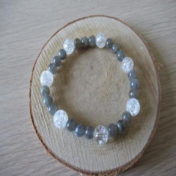 Bracelet en labradorite et cristal de roche