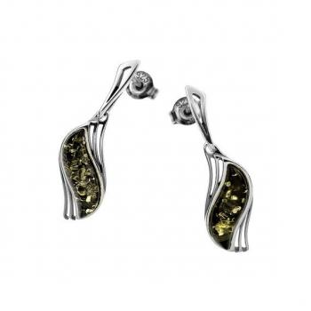 Boucles d'oreilles en ambre vert de la Baltique sur argent 925