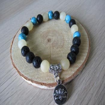 Bracelet en lave howlite et calcite