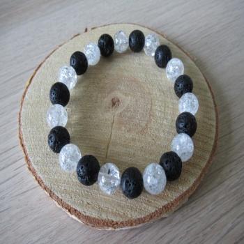 Bracelet en pierre de lave et cristal de roche