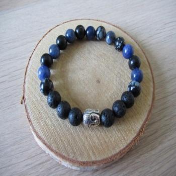Bracelet en sodalite obsidienne lave