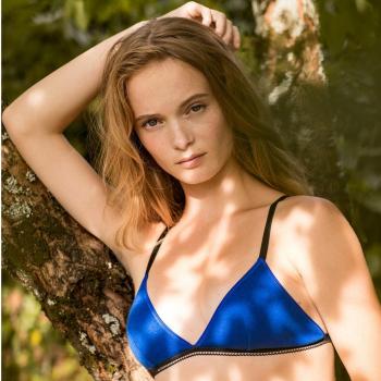 Soutien-gorge en coton bio bleu Lena Olly