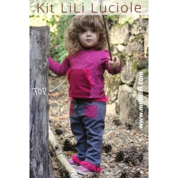 Kit Top Lili Luciole 2/3/4 ans rose/framboise/bordeaux-MULTILILI