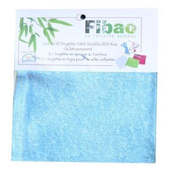 lingettes lavables bambou Bleues Fibao