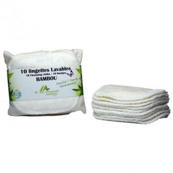 Lingettes Lavables Familiales - Lot de 10 - ivoire - Collection Bambou