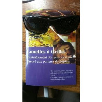 Lunettes à grilles ou  lunettes à trous   rectangle bordeaux foncé + offert livret 32 pages en PDF